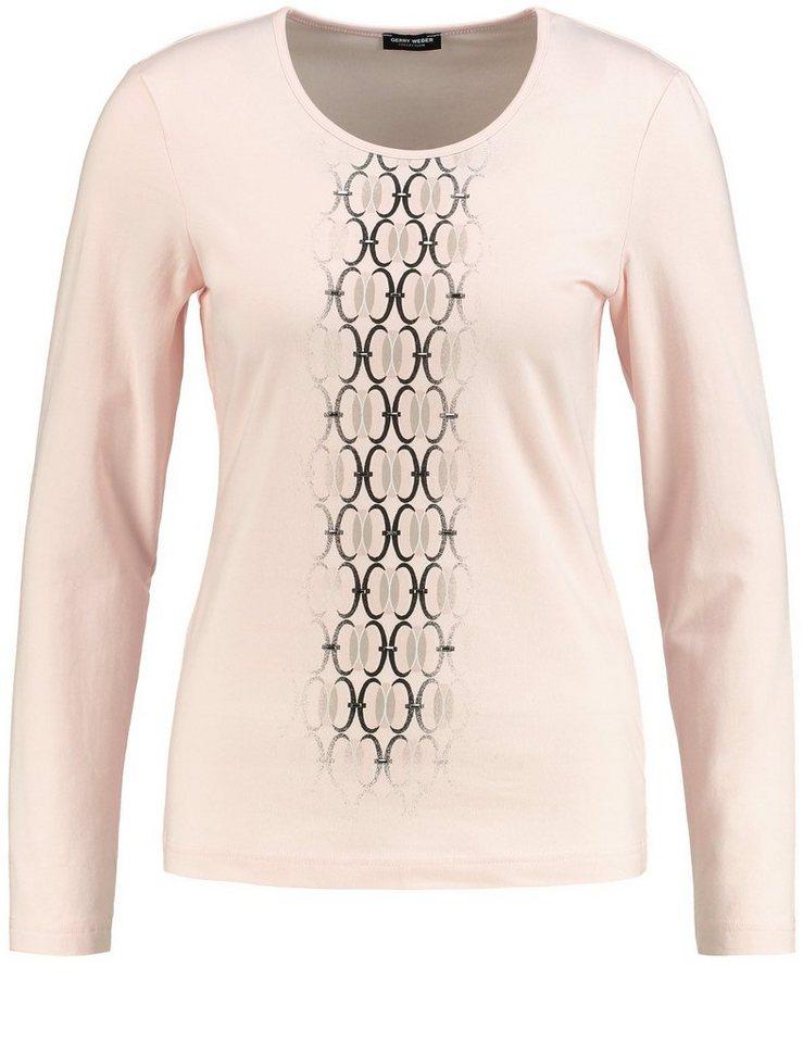 Gerry Weber T-Shirt Langarm Rundhals »Langarmshirt mit Frontdruck« in Puder