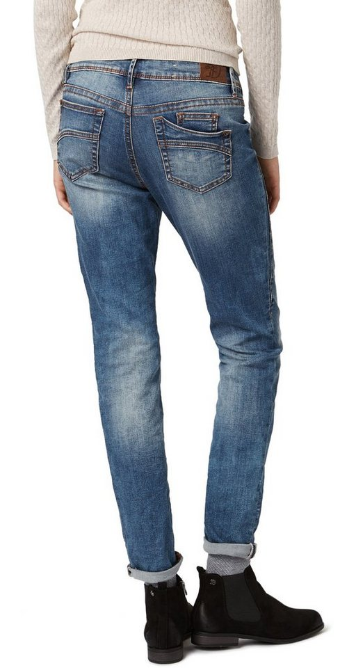 TOM TAILOR DENIM Jeans »lässige Anti-Fit Jeans mit Destroys« in mid stone wash denim