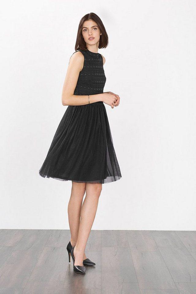 ESPRIT COLLECTION Kleid mit Spitzen-Top und Mesh-Rock in BLACK
