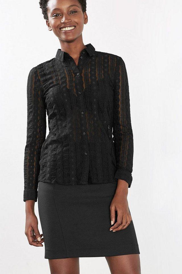 EDC Bluse aus Ornament-Spitze in BLACK