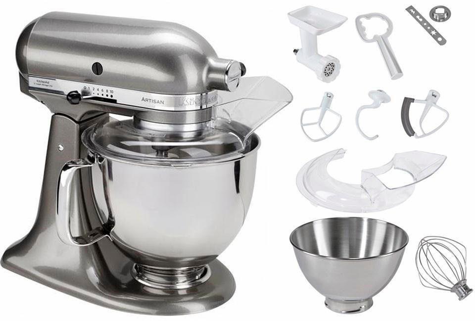 KitchenAid® Küchenmaschine 5KSM175PSEMS Artisan, inkl. Sonderzubehör Wert ca. 214,-€, silber