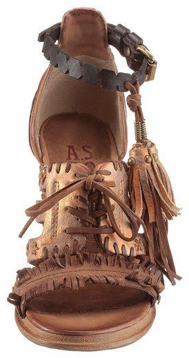 A.S.98 Riemchensandalette, mit aufwendigen Flechtdurchzügen