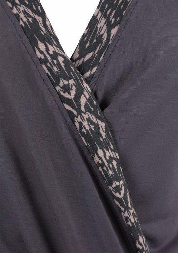 s.Oliver RED LABEL Bodywear Kimono mit gemusterten Kanten