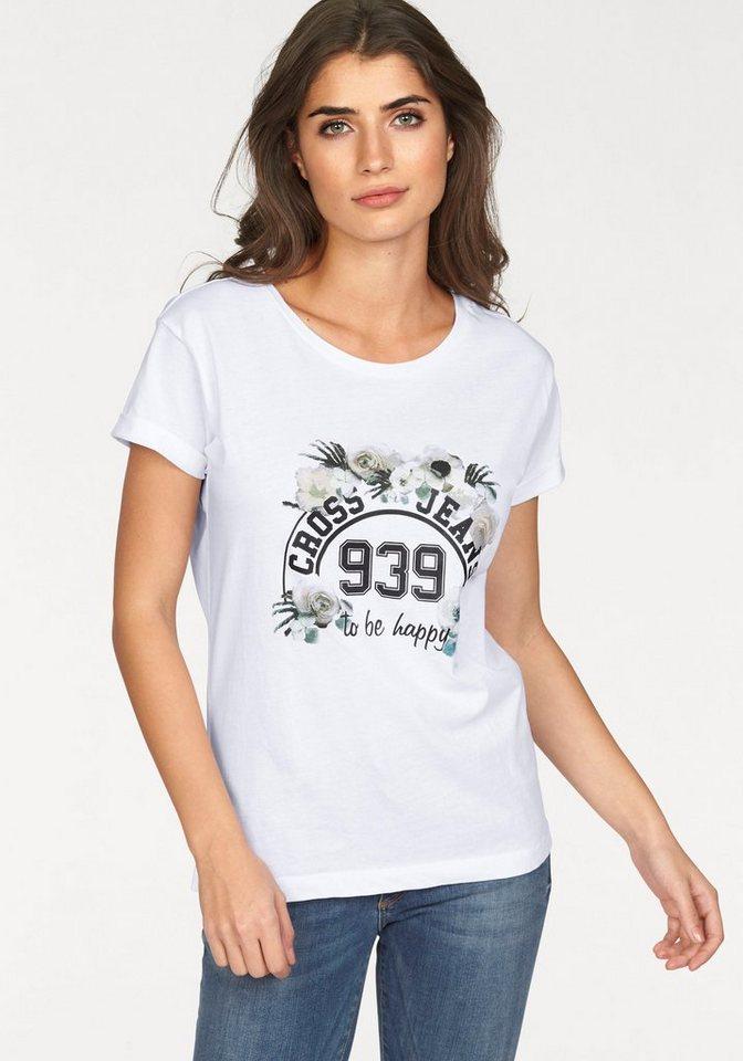 Cross Jeans® T-Shirt mit stylischem Frontprint in weiß
