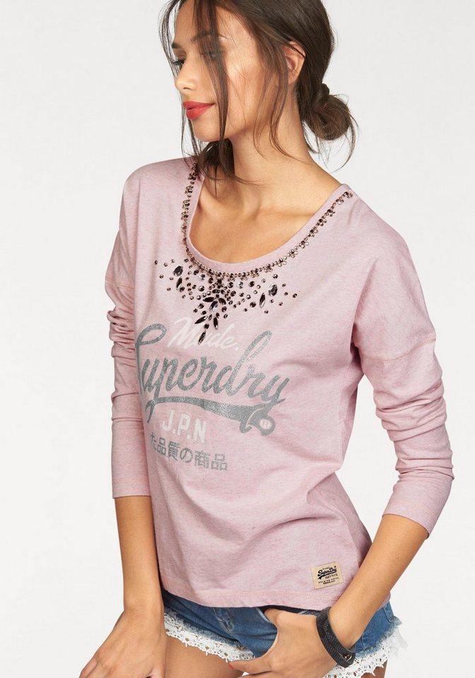 Superdry Rundhalsshirt »SPARKLE NECKLACE TOP« mit Glitzersteinen in rosé