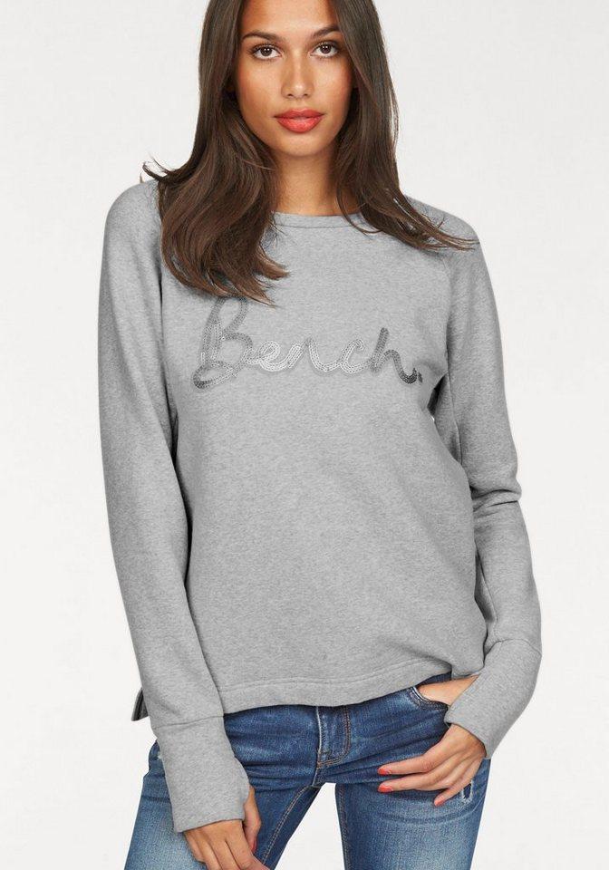 Bench Sweatshirt mit Pailletten-Applikation in grau-meliert