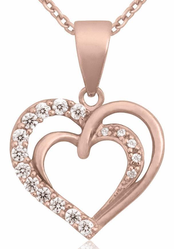 Firetti Herzkette »Herz« mit Zirkonia in Silber 925-roségoldfarben