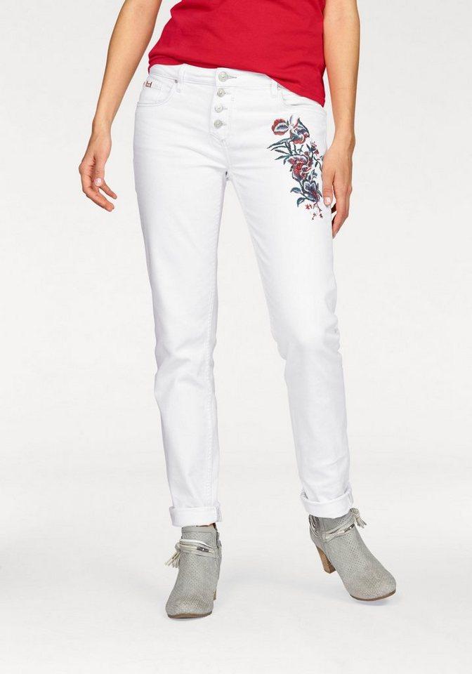 H.I.S 5-Pocket-Jeans »Monroe« Mit angesagter Stickerei auf dem Oberschenkel in weiß