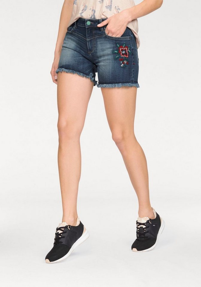 H.I.S Jeansshorts mit Stickerei in blue-used