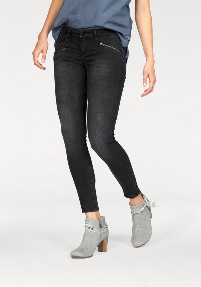 Cross Jeans® Skinny-fit-Jeans »Giselle« in 7/8 Länge in black-used