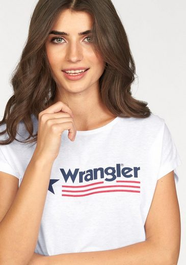 Wrangler Print-Shirt, mit trendy Logo
