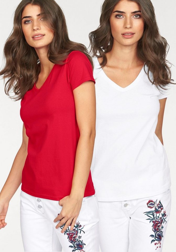Fruit of the Loom V-Shirt »Lady-Fit Valueweight V-Neck« (Packung, 2 tlg., 2er-Pack) in rot+weiß