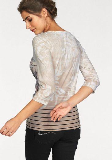 Olsen 3/4-Arm-Shirt, mit Druck und Glitzersteinen