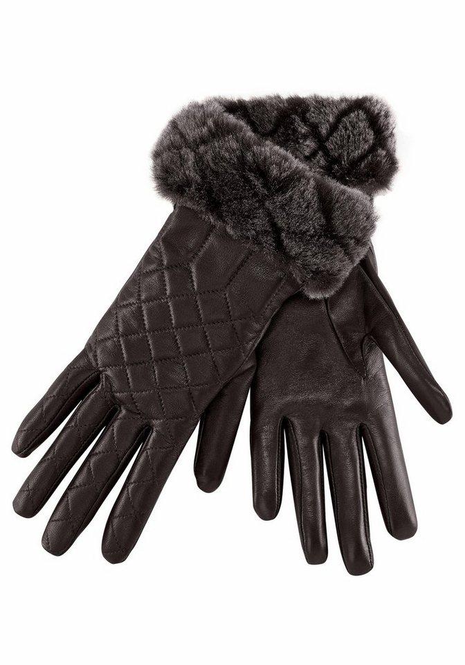 UGG Lederhandschuhe Quited Croft Gloves in dunkelbraun