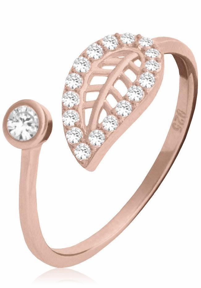 Firetti Fingerring »Blatt« mit Zirkonia in Silber 925-roségoldfarben