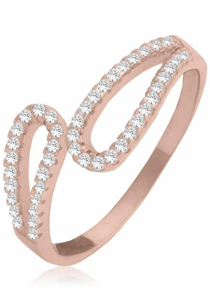 Firetti Fingerring mit Zirkonia in Silber 925-roségoldfarben