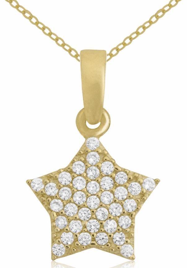 Firetti Goldkette »Stern« mit Zirkonia in Gelbgold 333