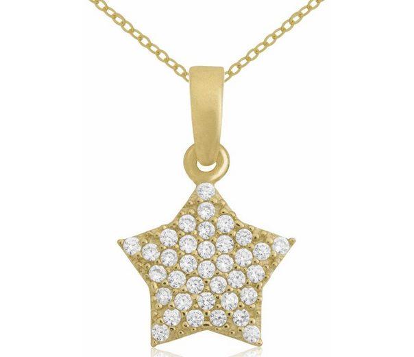 Firetti Goldkette »Stern« mit Zirkonia