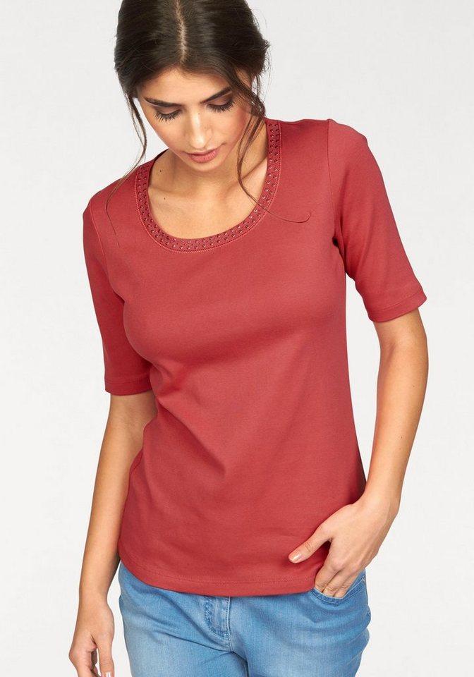 Olsen T-Shirt Schmuckelemente aus antik Silber am Halsausschnitt in orange