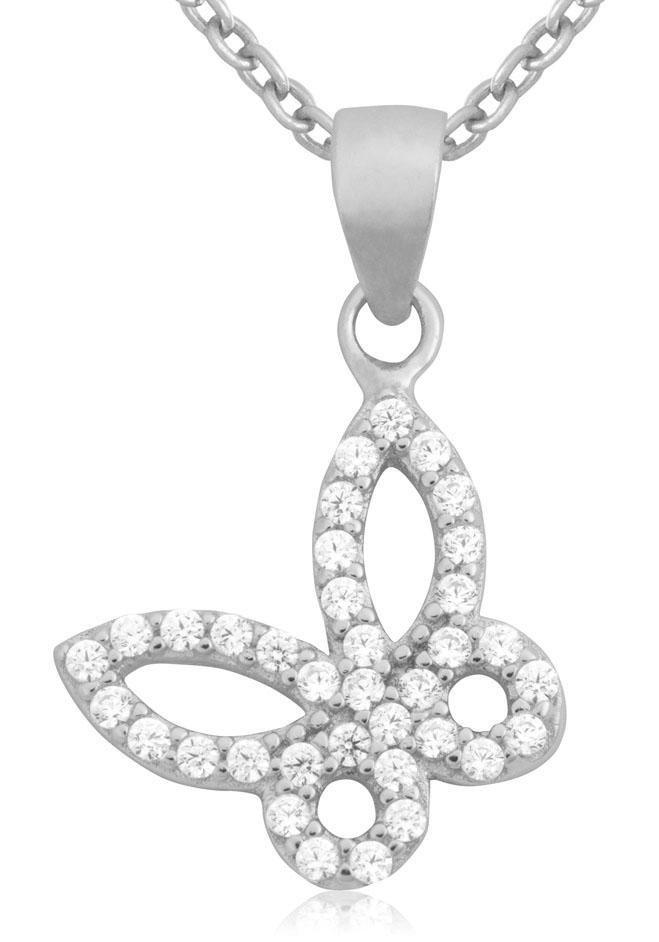Firetti Silberkette »Schmetterling« mit Zirkonia in Silber 925