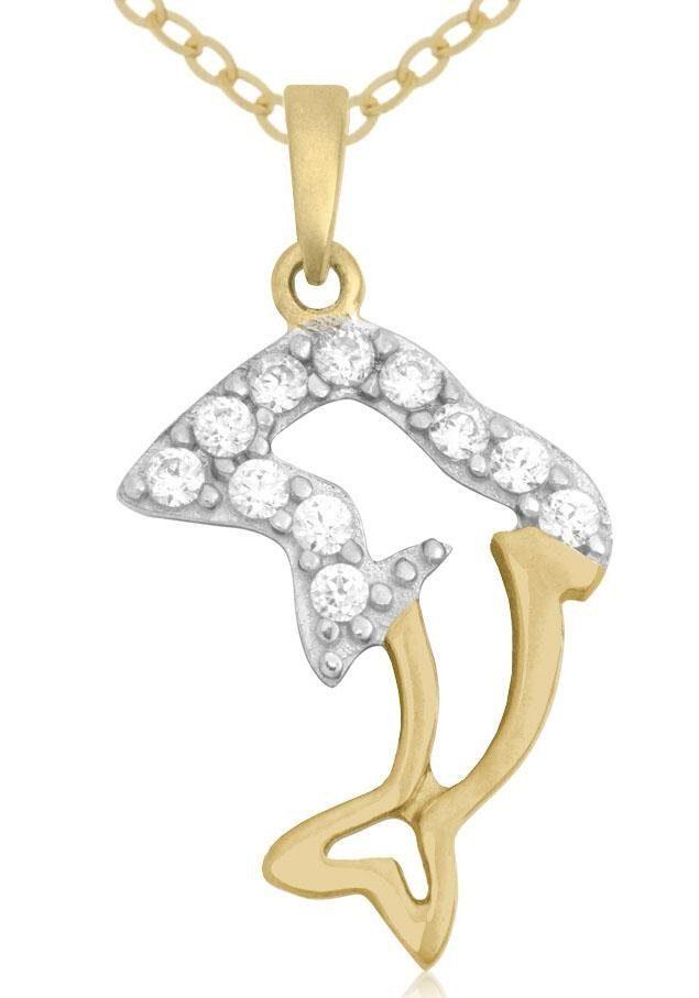 Firetti Goldkette »Delfin«, mit Zirkonia
