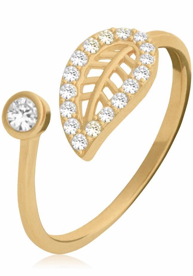 Firetti Fingerring »Blatt« mit Zirkonia in Silber 925-goldfarben