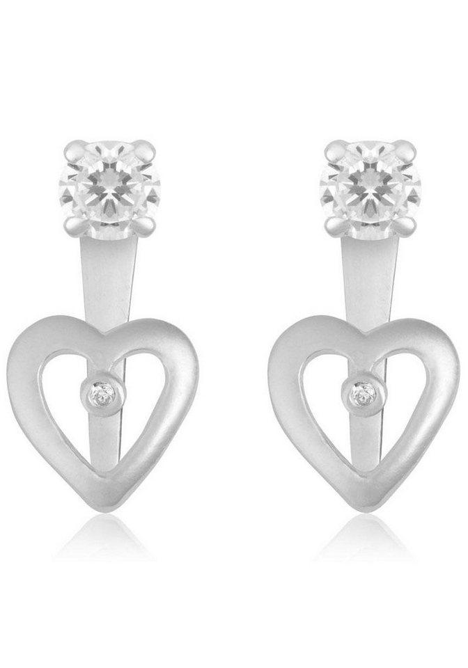 Firetti Paar Ohrstecker »Herz« mit abnehmbaren Einhängern und Zirkonia in Silber 925