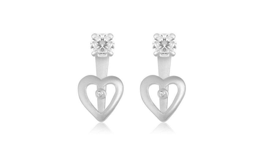 Firetti Paar Ohrstecker »Herz« mit abnehmbaren Einhängern und Zirkonia