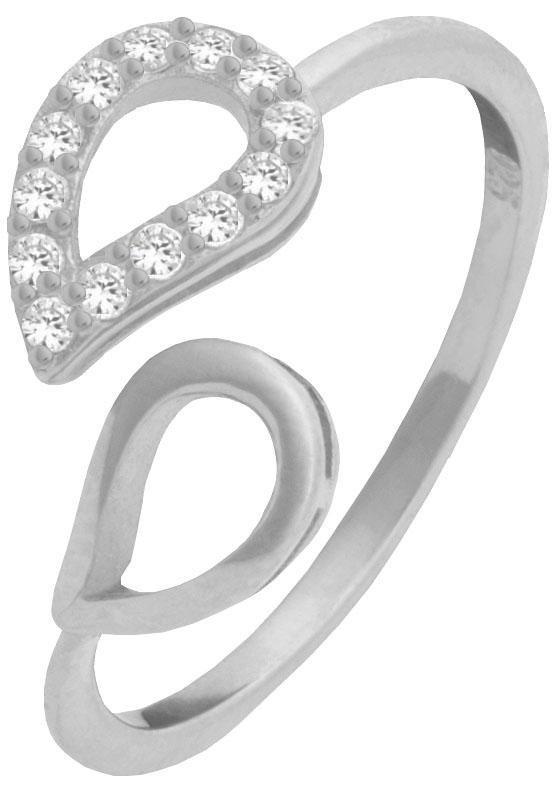 Firetti Silberring »Blatt« mit Zirkonia in Silber 925