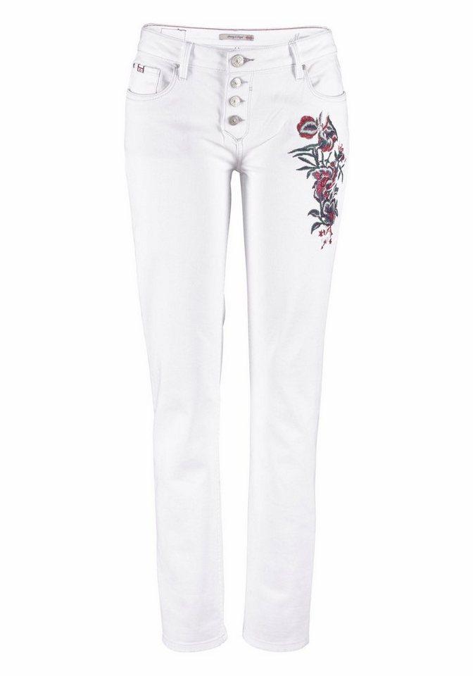 H.I.S 5-Pocket-Jeans »Monroe«, Mit angesagter Stickerei auf dem Oberschenkel
