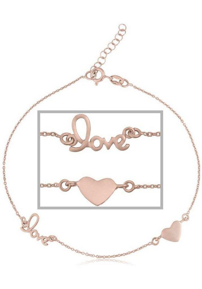 Firetti Fußkette »Herz« in Silber 925-roségoldfarben