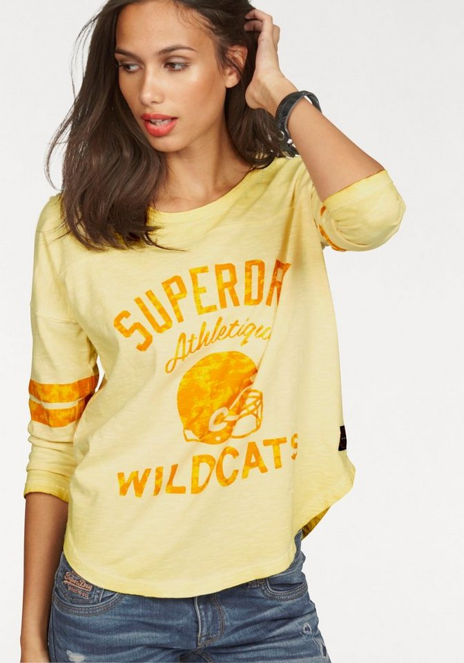 Superdry Rundhalsshirt »VINTAGE DYE VARSITY TOP« im College-Design in gelb