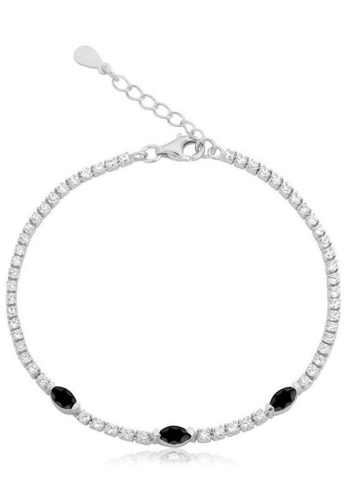 Firetti Silberarmband mit Zirkonia in Silber 925-schwarz