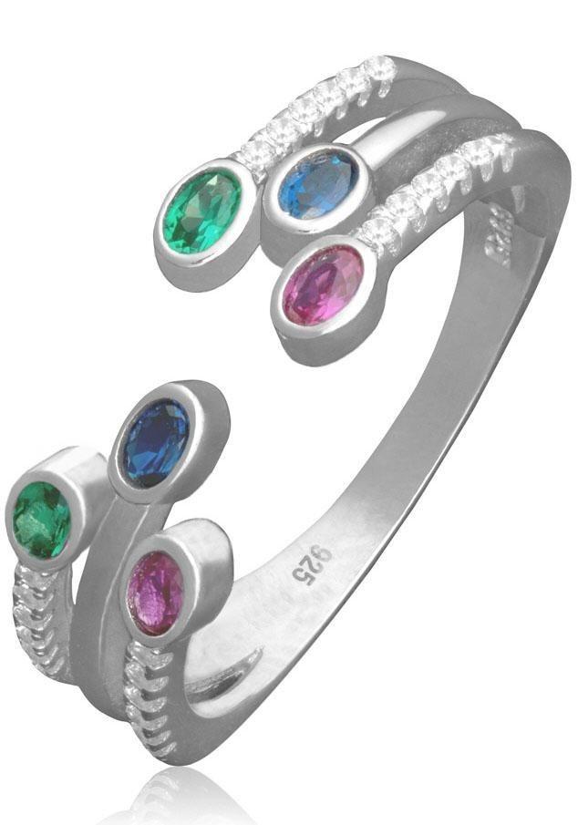 Firetti Silberring mit Zirkonia in Silber 925-grün-blau-rubinrot