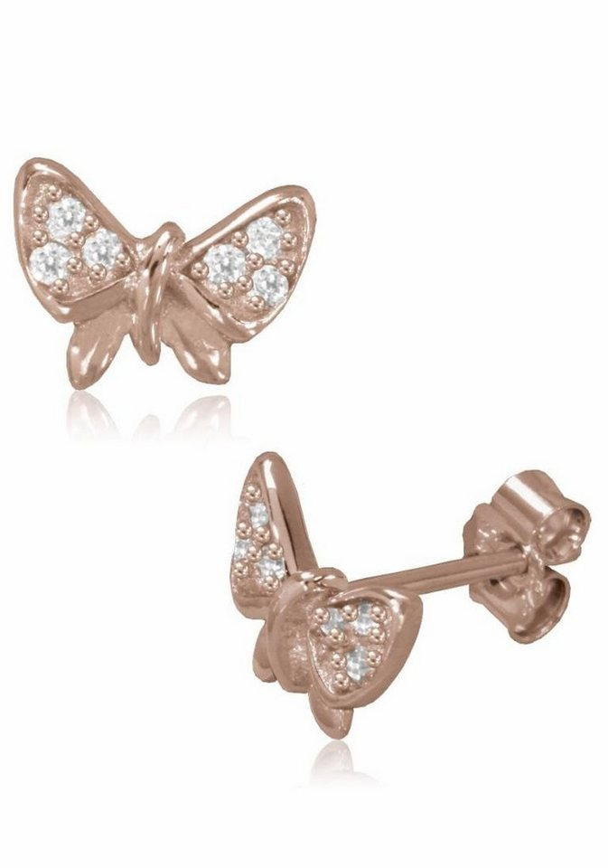 Firetti Paar Ohrstecker »Schmetterling« mit Zirkonia in Silber 925-roségoldfarben