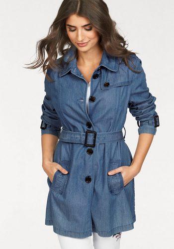 Damen Danwear Trenchcoat (Set, 2 tlg., mit abnehmbarem Gürtel) Mantel aus Jeansware blau | 05710289826929