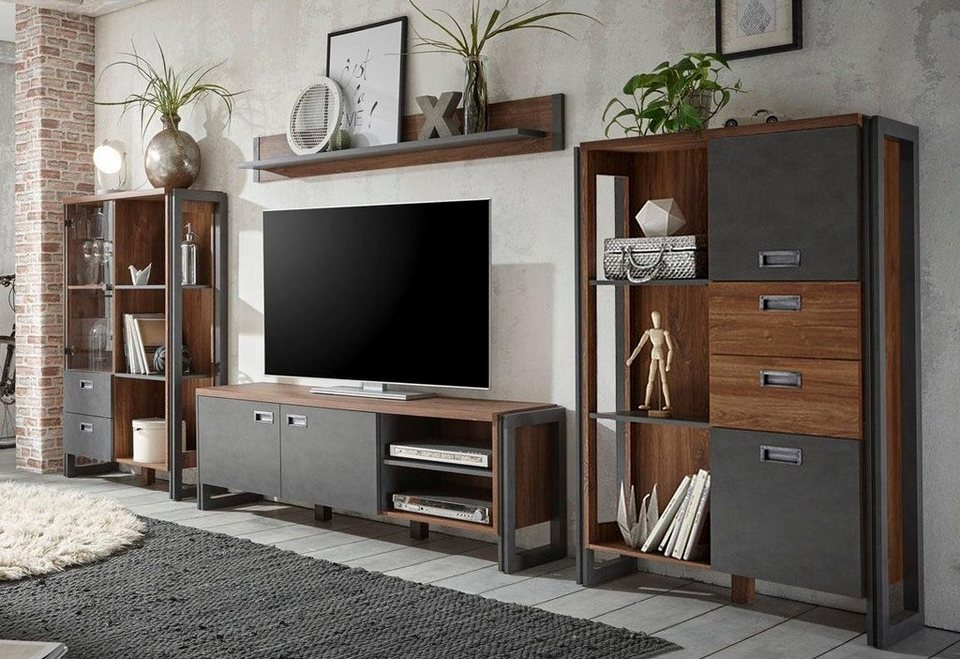 home affaire wohnwand detroit set 2 im angesagten industrial look 4 tlg online kaufen otto. Black Bedroom Furniture Sets. Home Design Ideas