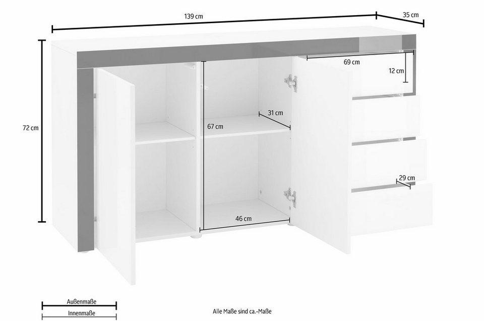 Sideboard, »Tana« Breite 139 cm in weiß matt