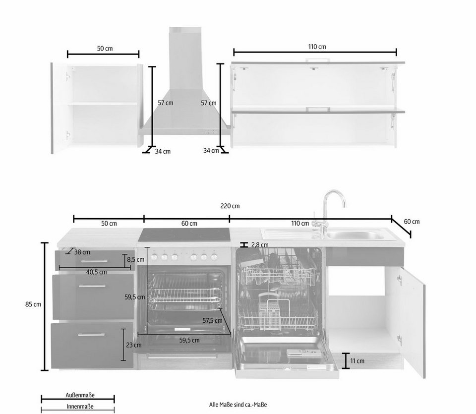 Held Möbel Küchenzeile »Graz« ohne E-Geräte, Breite 220 cm in weiß