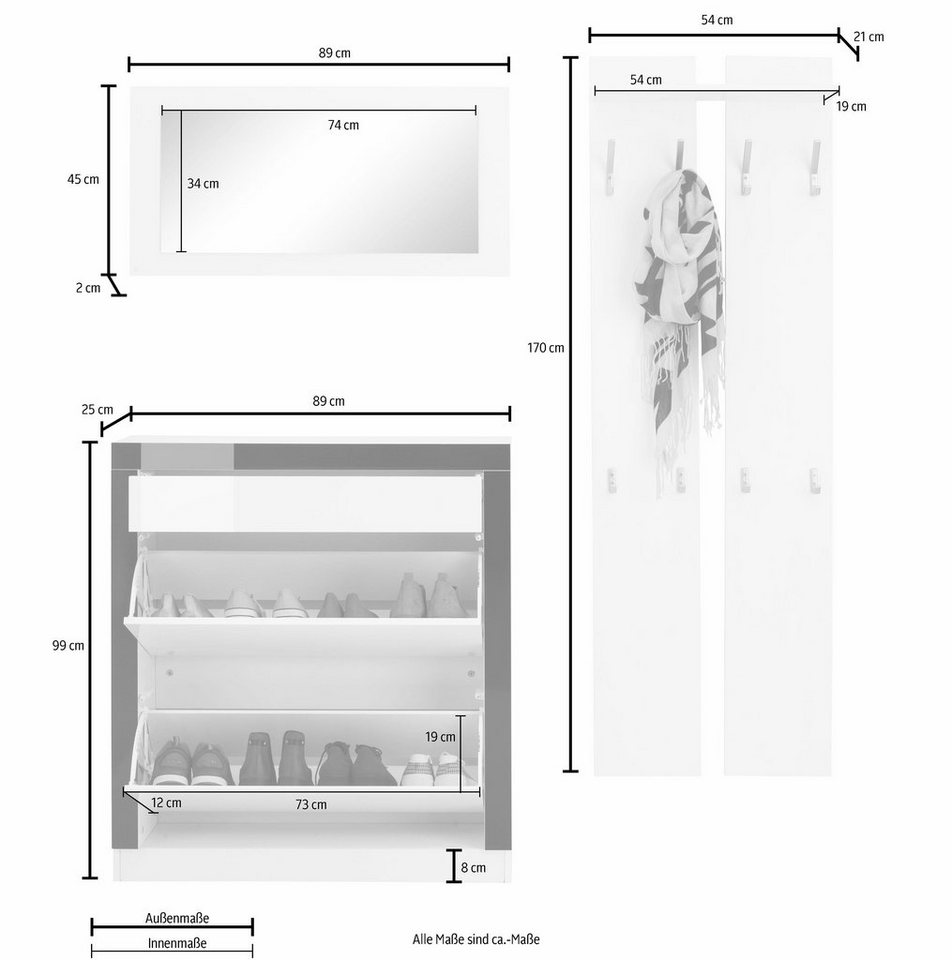 Garderoben-Set »Tana« (3-tlg.) in weiß-matt