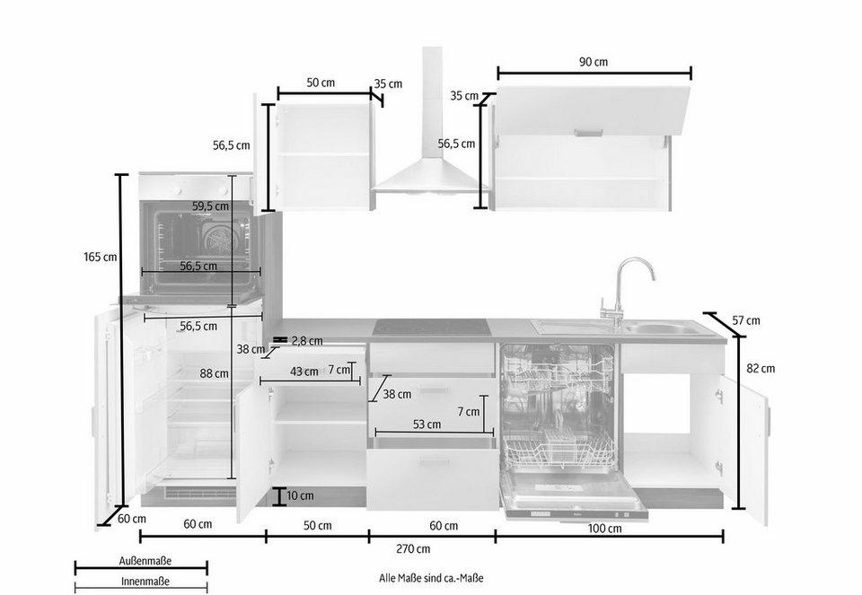 Küchenzeile »Tacoma« mit E-Geräten, Breite 280 cm in vanillefarben