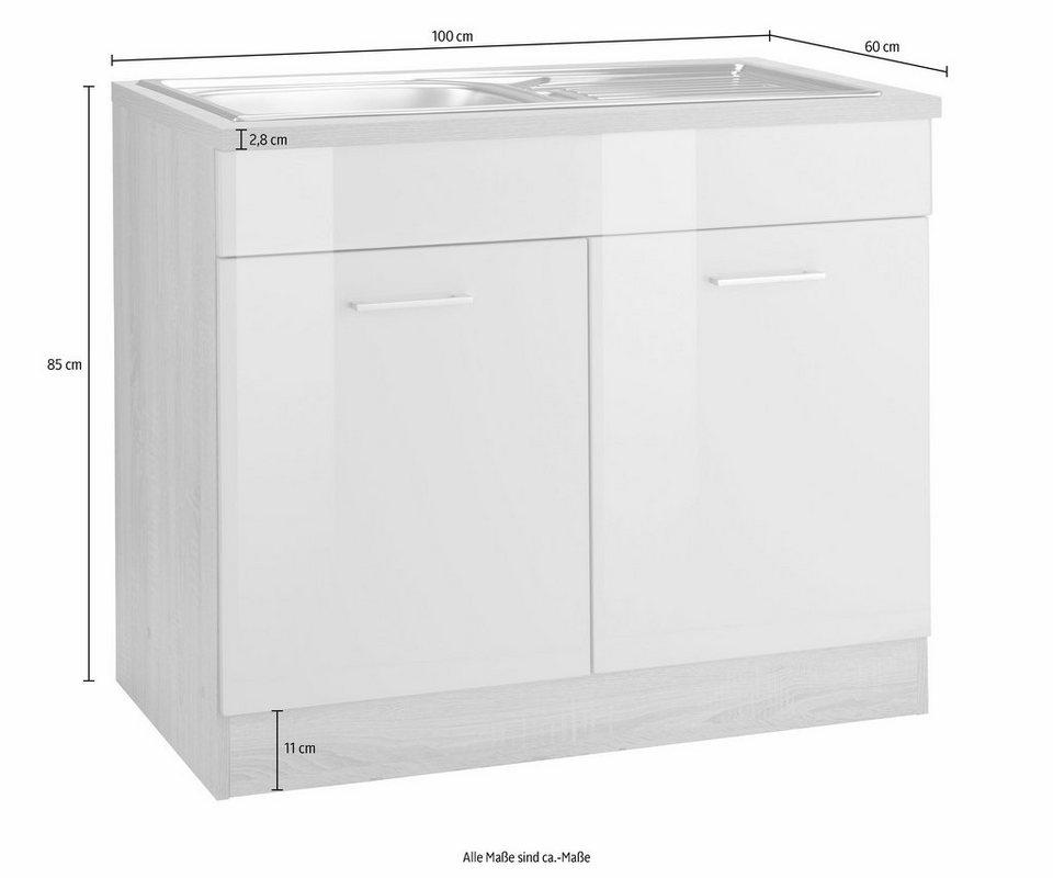 Held Möbel Spülenschrank »Graz«, Breite 100 cm in weiß