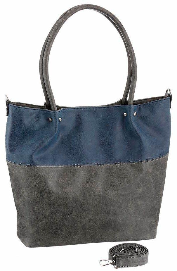 Emily und Noah Shopper mit herausnehmbarer Umhängetasche in grau-blau-used