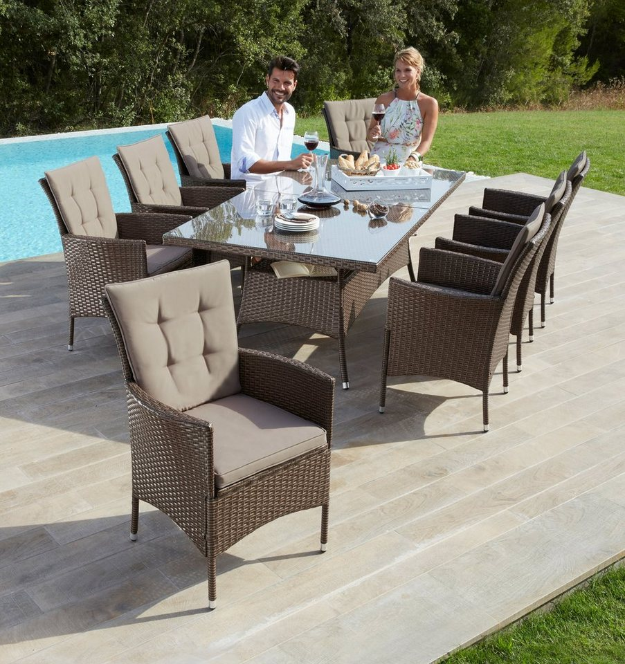 gartenm belset santiago new 26 tlg 8 sessel tisch 200x100 cm polyrattan online kaufen otto. Black Bedroom Furniture Sets. Home Design Ideas