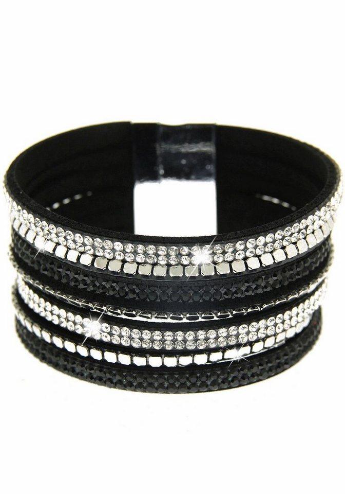 Sweet Deluxe Armband »Rising sun, 4889« mit Strasssteinen in silberfarben-schwarz