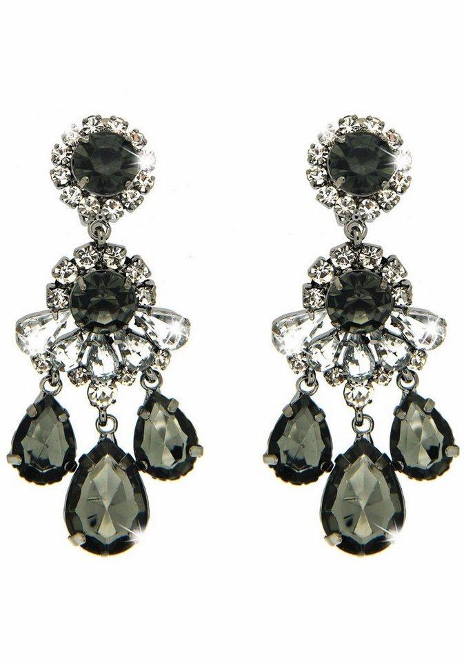 Sweet Deluxe Paar Ohrclips »Burgas I, 3959« mit Glassteinen in silberfarben-schwarz