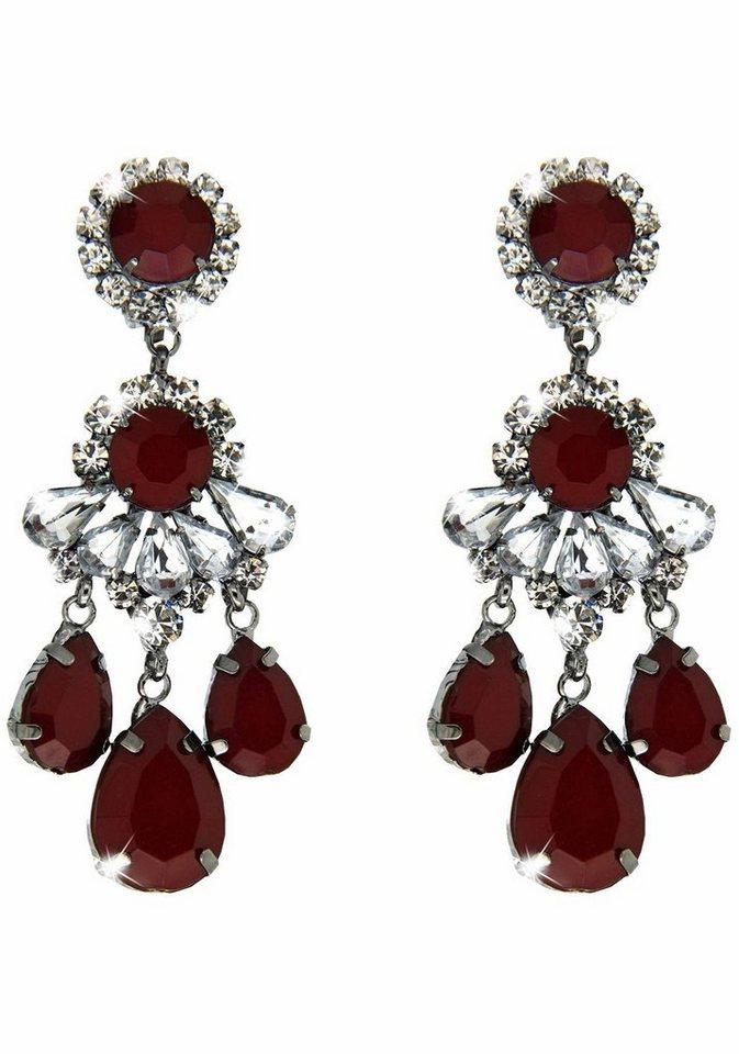 Sweet Deluxe Paar Ohrclips »Burgas I, 3958« mit Glassteinen in silberfarben-rot