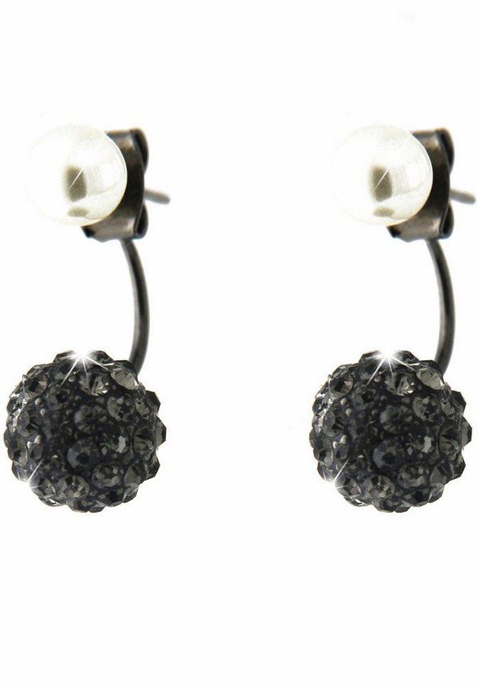 Sweet Deluxe Paar Ohrstecker »Cagliari, 4198« mit Glassteinen und Wachsperlen in dunkelgrau-schwarz
