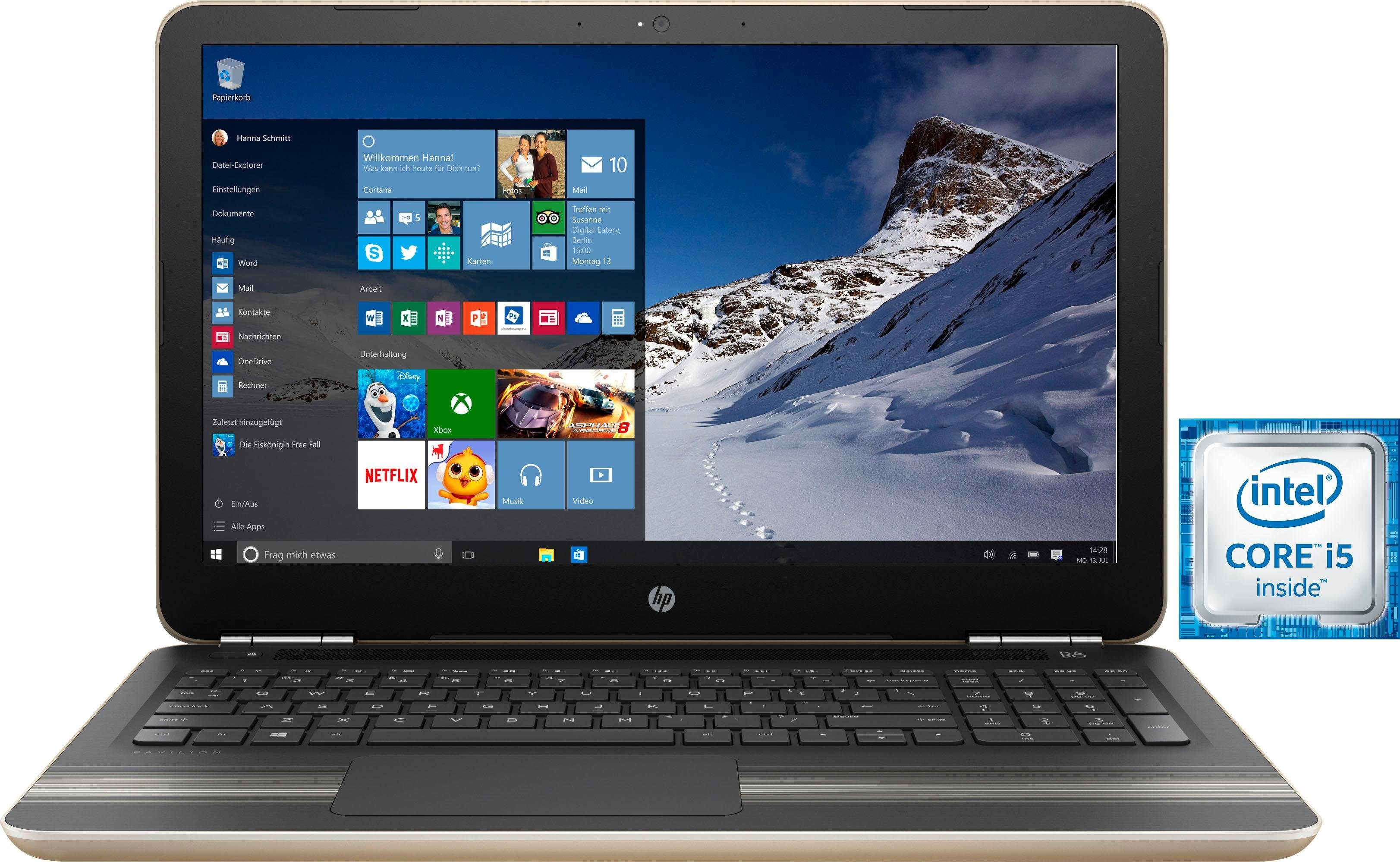 HP Pavilion 15-au147ng Notebook, Intel® Core™ i5, 39,6 cm (15,6 Zoll), 1128 GB Speicher