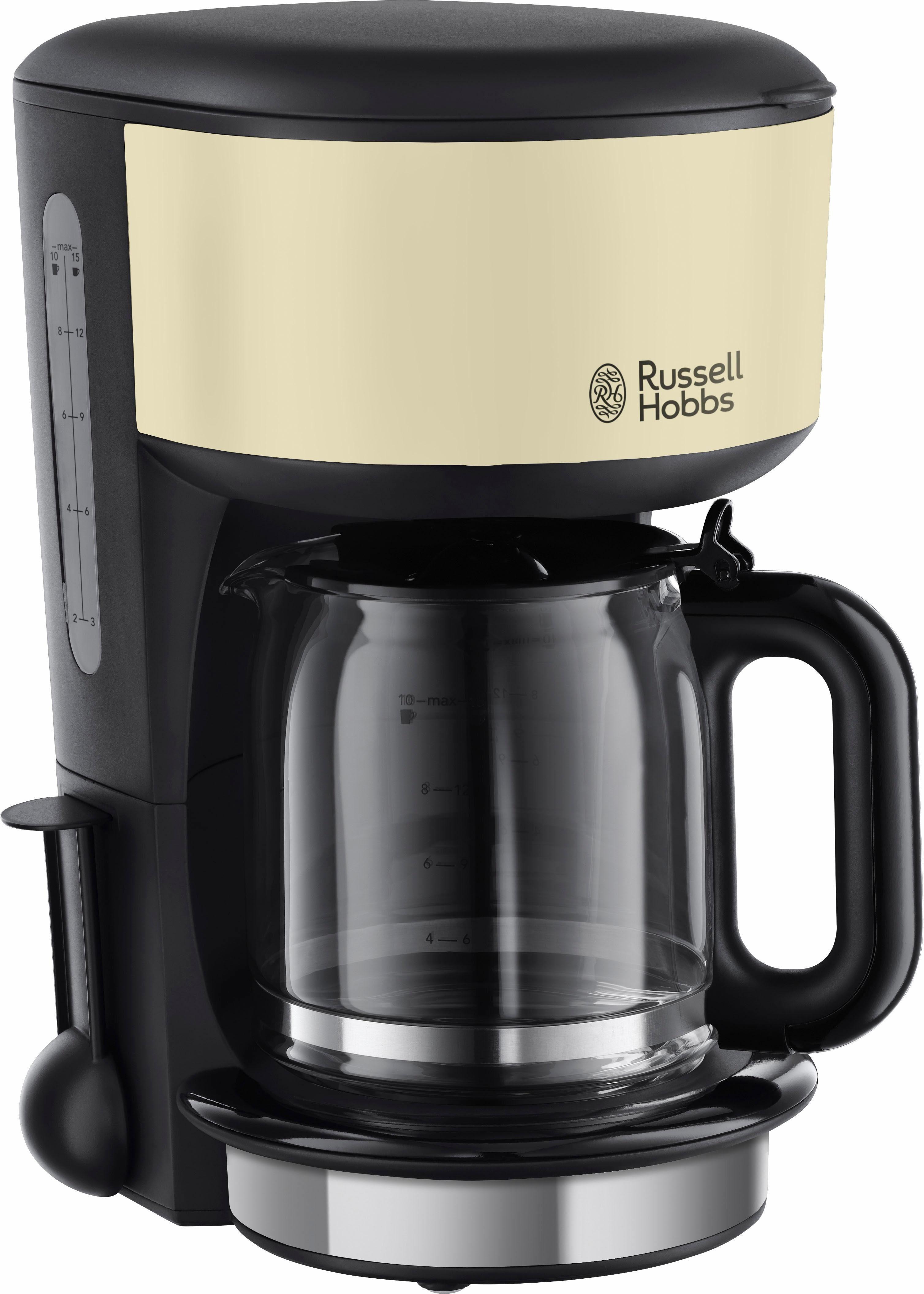 RUSSELL HOBBS Filterkaffeemaschine Colours Plus+ Classic Cream 20135-56, 1,25l Kaffeekanne, Papierfilter 1x4